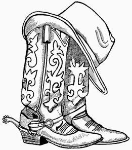 Bottes de cow-boy et chapeau de cow-boy dessin hd chaussure clipart   – Art Ideas – Rodeo Art!!