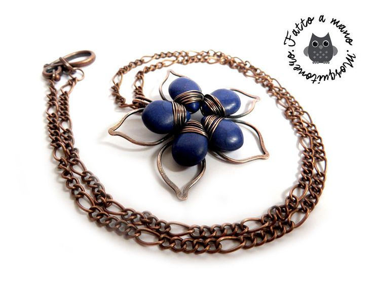 Collana Artigianale stile vintage Fiore a petali lavorati a mano in bronzo anticato , by «:::Mosquitonero Shop:::», 18,90 € su misshobby.com