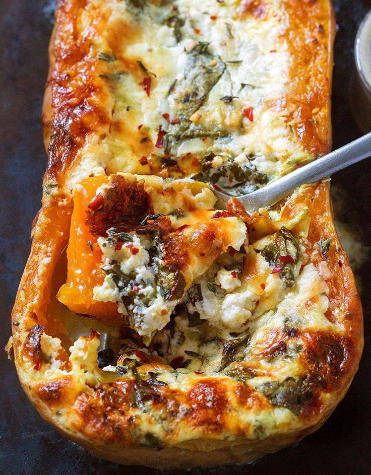 The butternut squash is stuffed with four cheese, garlic and spinach then baked in the oven. It's delicious and incredibly easy to prepare–without mentioning the minimal clean-up!