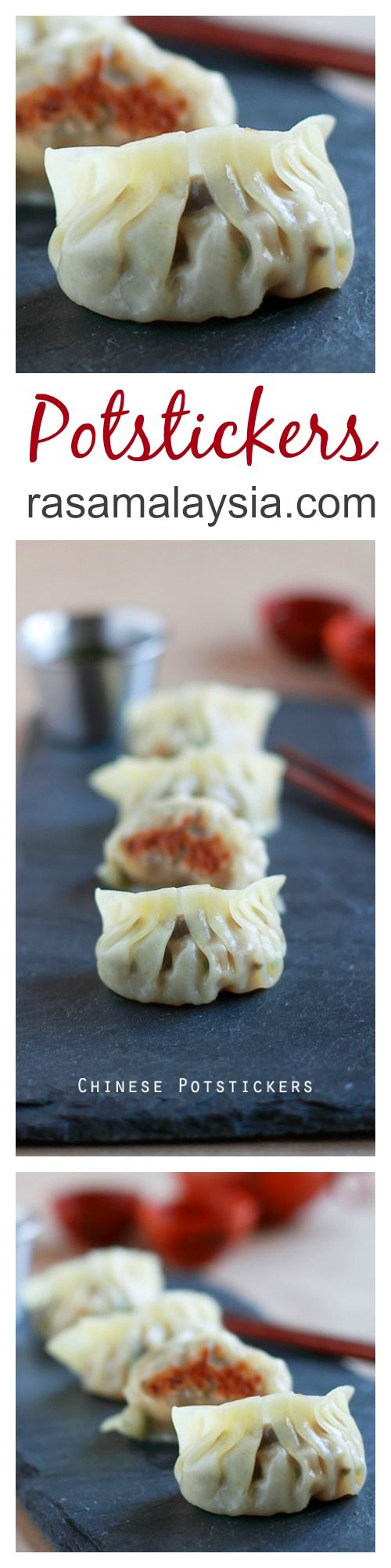 {China} Potstickers are Chinese dumplings with ground meat, veggie, pan-fried and then steamed. Easy and the BEST potstickers recipe you can make at home | rasamalaysia.com