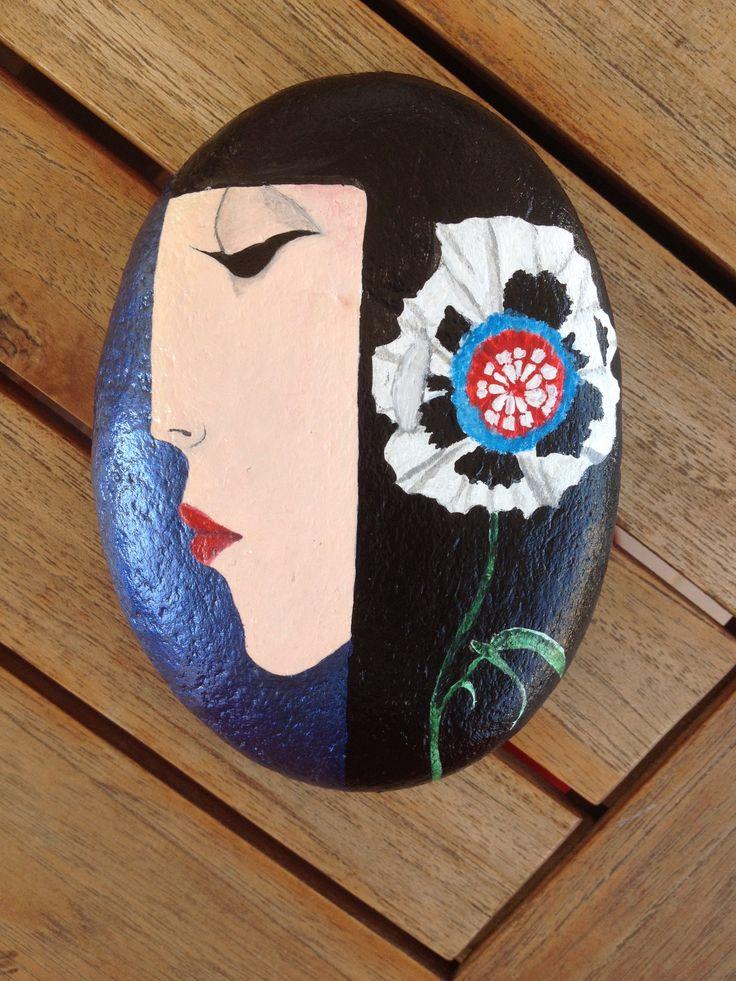 #acrylics #stone #pebble #rocks #painted #woman #art #N4Joy
