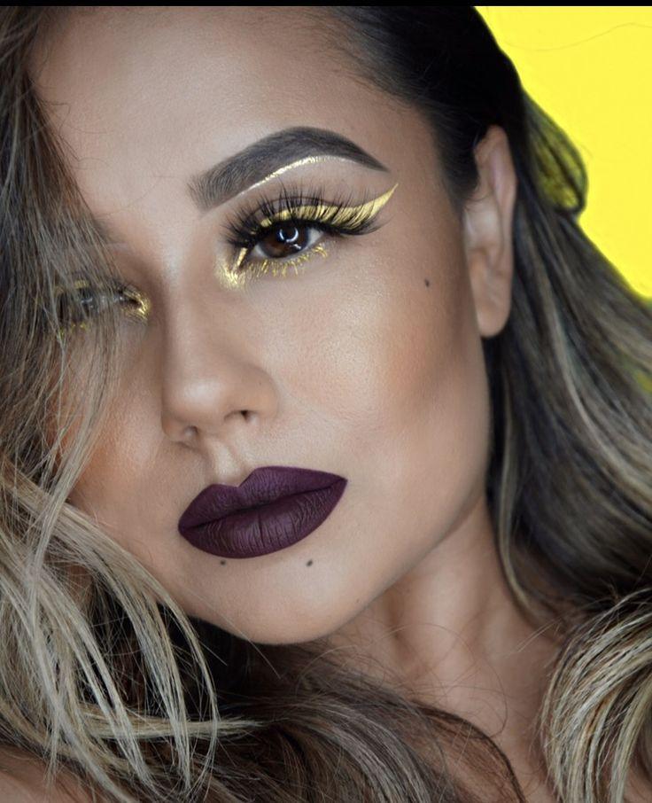 Yellow eyeliner Dark lips Yellow makeup