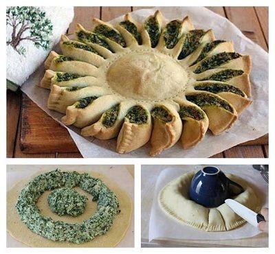 Ispanaklı ekmek hamurundan börek