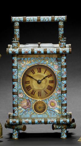 A fine cloisonné enamel striking and repeating carriage clock with alarm, Last quarter 19th century