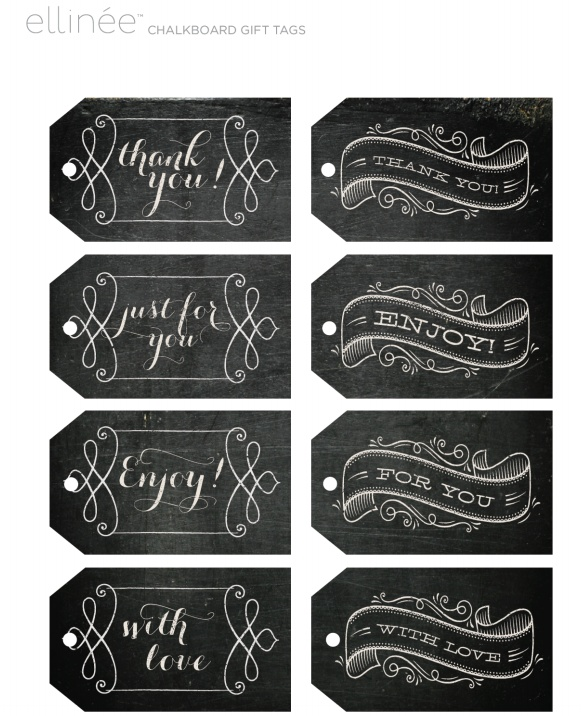 Awesome free printable chalkboard style tags. Use them as labels too -:) by ellinee.com