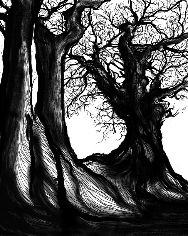Big trees at Deaheung temple in South Korea  Materials: canvas, digital print, computer graphic Category: Digital Original size: (h) 90.0 * (w) 72.0 cm  Printing at a canvas frame