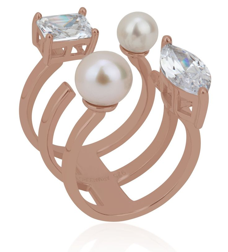 Arya Collection 3 rows white pearl pink gold vermeil ring