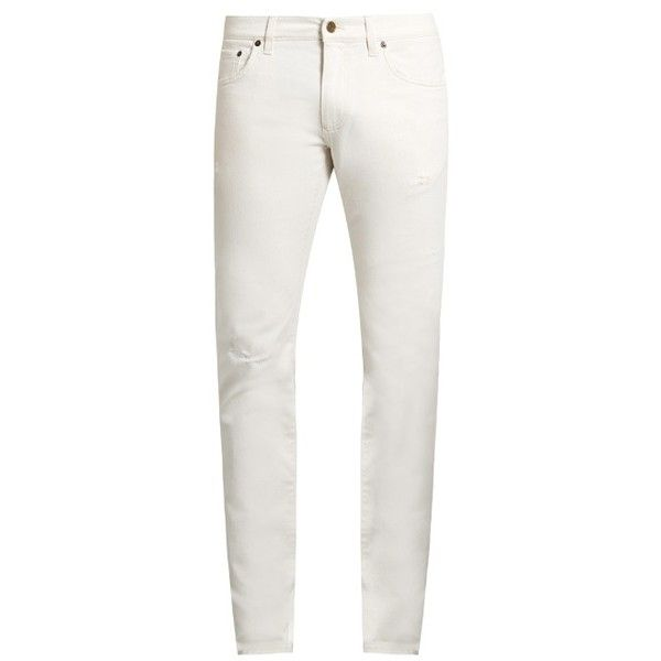 Dolce & Gabbana Distressed skinny jeans ($595) ❤ liked on Polyvore featuring men's fashion, men's clothing, men's jeans, white, dolce gabbana mens jeans, mens ripped skinny jeans, mens distressed skinny jeans, mens white skinny jeans and mens ripped jeans