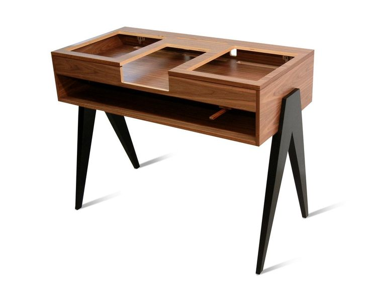"""See the """"battle style"""" DJ stand that draws the eye while dispensing beats: birch & solid walnut make for stunning looks and durability."""