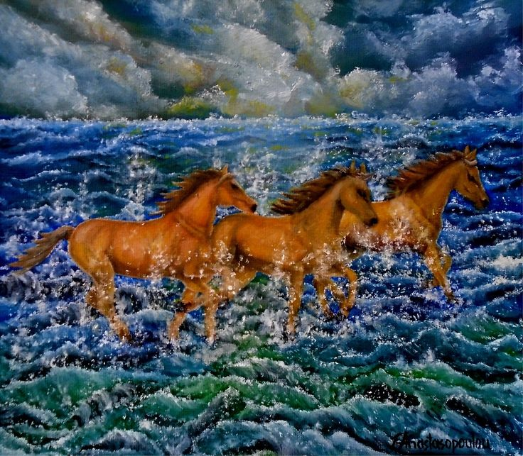 Horses, painting, running,wild,animals,seasca[e.ocean,cloudy,sky,big,waves,rough,water,turmoil,splashing,crashing,stormy,atmospheric,wildlife,blue,colorful,motion,movement,action,unique,artistic,beautiful,cool,awesome,decor,contemporary,modern,virtual,deviant,unique,fine,art,oil,wall art,awesome,cool,image,picture,artwork,for sale,redbubble