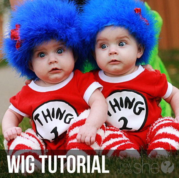DIY wigs for Thing 1 and Thing 2 via How Does She