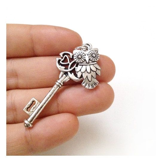 Silver Owl Victorian Key Necklace,Steampunk Key Necklace,Skeleton Key necklace. $9.50, via Etsy.