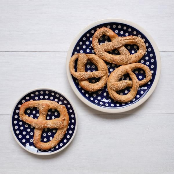 Vegan homemade spelt pretzels. So delicious!!!  Polish Pottery in Canada