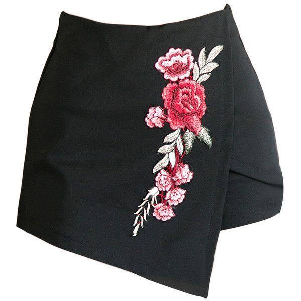 Skort Floral Embroidery Patchwork Vintage Skort ($22) ❤ liked on Polyvore featuring skirts, mini skirts, bottoms, shorts, vintage mini skirt, vintage skirts, skort skirt, patchwork skirt and golf skirts