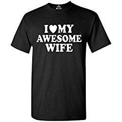 I Heart My Awesome Wife T-shirt Couple Shirts 2XL Black