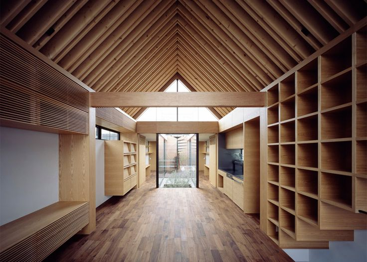 Apollo Architects & Associates named this Tokyo house after Noah's Ark, because it features a symmetrical floor plan and a pointed wooden roof