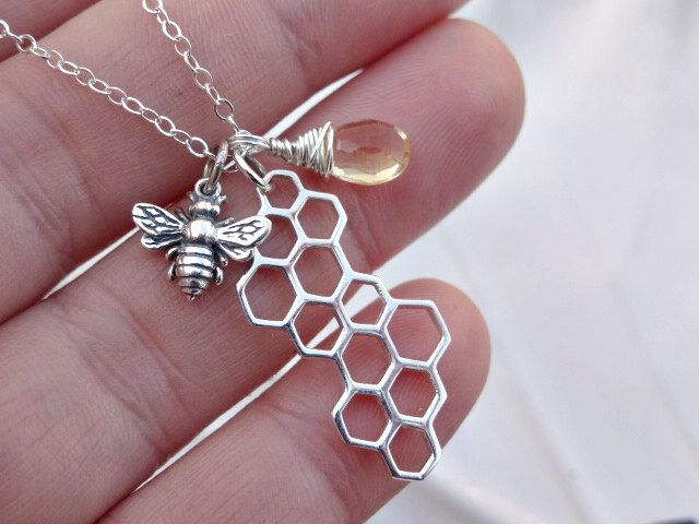 Sterling silver bee & Honey comb charm necklace with genuine yellow Quartz gemstone, bee jewelry, honey bee, honey comb charm, summer, chic. $42.00, via Etsy.