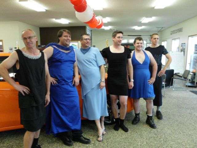"""We raised $1000 for The """"Look Good, Feel Better"""" Foundation, so the men of CMC put dresses on. :)"""