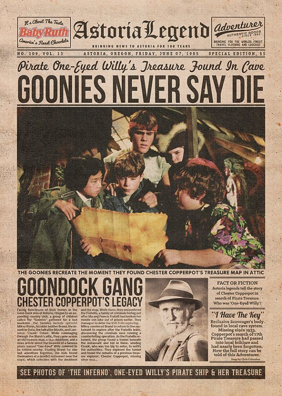 The Goonies Newspaper... I need this in a frame in my future living room lol