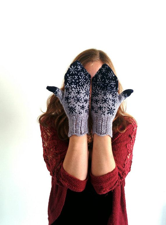 Snowflake mittens hand knitted in New Zealand  dark by RoamingWool