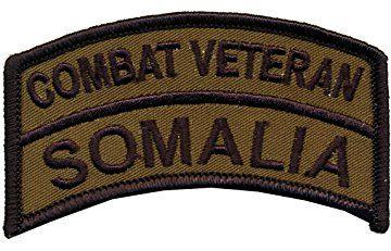 "2"" X 3 1/2"" OD Somalia Combat Veteran Tab - Wax Backing with Merrowed Edge - Battle of Mogadishu 1993 - Somalia - Black Hawk Down."