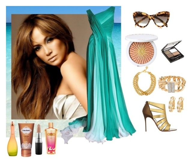 """Jennifer Lopez Style"" by fashionfan-8 ❤ liked on Polyvore featuring Jennifer Lopez, Guerlain, Prada, Revlon, Monique Lhuillier, Ben-Amun, JLo by Jennifer Lopez, Fake Bake, MAC Cosmetics and Victoria's Secret"