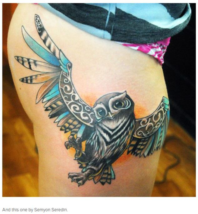 Color owl tattoo by Semyon Seredin