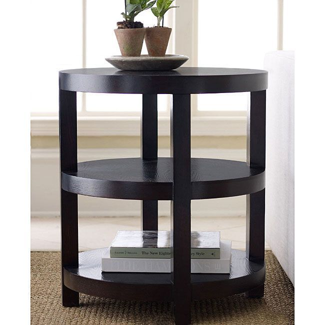 This Solid Hard Wood Round End Table Comes With A Dark Espresso Finish To  Complement Any
