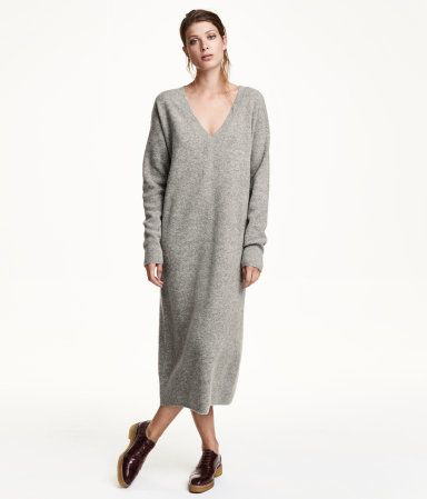 a844c39aee8 Long, fine-knit wool sweater dress with a low-cut V-neck, dropped  shoulders, and long sleeves. | Warm in H&M | H&m | Grey sweater dress, Long  sleeve sweater ...