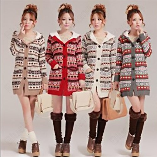 Korean Thickened Sweater Star Flower Pattern Long Sleeve Hooded Cardigan Jacket10% off $32.39