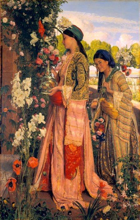 "peinture orientaliste UK : John Frederick Lewis, 1871, ""Lilium Auratum"", jardin, fleurs, 1870s"