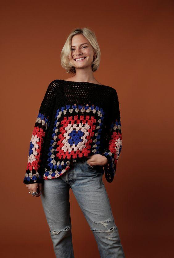 Pandora Sykes balanceo de la lana y la Banda Dot Cuna suéter, nueva pieza de la colección de ganchillo utilizando la técnica de la Plaza de la abuela.: