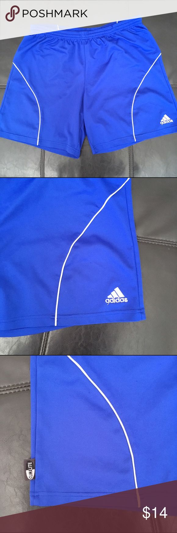 Adidas Royal Blue w/White Dry Weave Gym Shorts Cute, classic, and comfy! Great royal blue shade with white accents. Made from dry weave (climate) material to keep you cool and dry while working out. Excellent quality and condition. Check out my other listings to bundle and save 25% 😎! Adidas Shorts