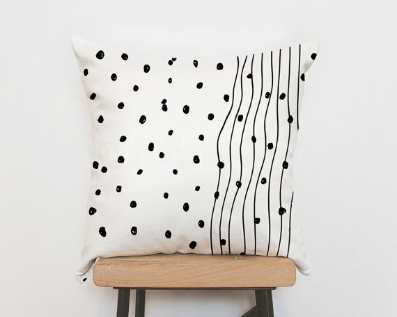Nursery pillows, monochrome, nursery decor, scandinavian decor, scandinavian nursery, monochrome baby, decorative pillows, dots lines pillow