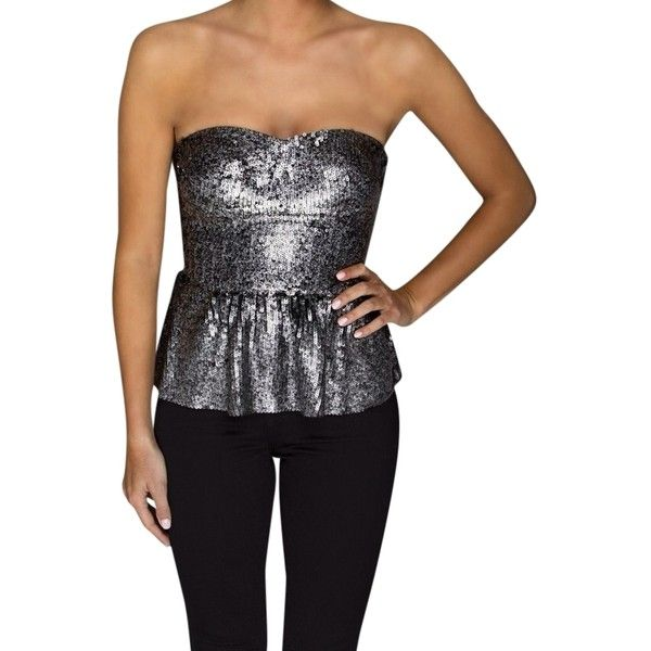 Pre-owned Rebecca Taylor Sequin Bustier Top Silver ($210) ❤ liked on Polyvore featuring tops, silver, night out tops, smock tops, sequin top, going out tops and silver peplum top
