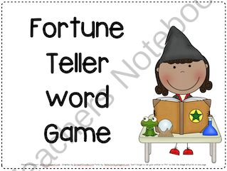 Fortune Teller Word Game from Pitners Potpourri on TeachersNotebook.com -  (44 pages)  - Contains the 1,000 Fry words & blank cards to use any words at all to play. Students take turns giving clues to partner to help guess the word. Team earn a point for every guess. Object is to have the lowest number of points when the game is finished.