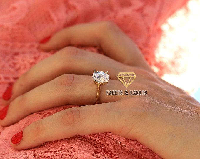 1 Carat Moissanite Thistle Engagement Ring Scottish Engagment Etsy In 2020 Oval Diamond Engagement Oval Solitaire Engagement Ring Promise Rings For Her