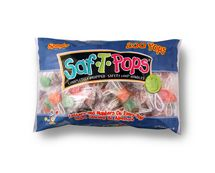 "Sweet Assorted Saf-t-pop specials The Saf-T-Pop lollipop is great for toddlers - also known as the ""lollipop with the loop"". It is the only pop with the fiber cord loop handle, and each pop is individually wrapped - handle and all! These solid colored Saf-T-Pops come in a random mix of ""four"" of the following flavors: Cherry, Grape, Orange, Lemon, Sour Apple, and Strawberry. Letter's & Numbers on each lollipop makes learning an adventure!!"