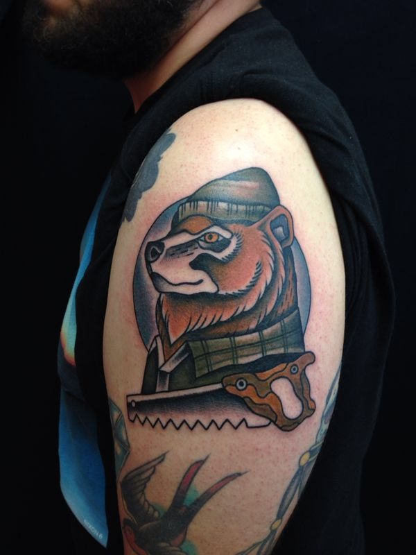 Bear lumberjack tattoo by elia landi