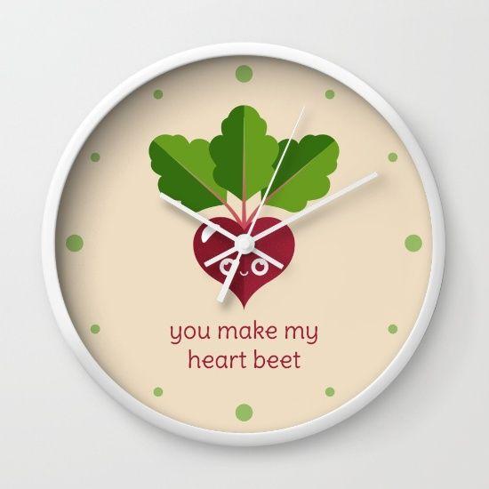 You Make My Heart Beet Wall Clock - pun, puns, beet, beets, vegetable, vegetables, food, funny, cute, love, relationship, tasteful, tasty, relationships, valentine, valentines, vector, art, illustration, drawing, design