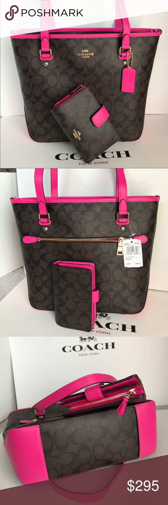 🍀Coach Set🍀 100% Authentic Coach Tote Bag and Wallet, both brand new with tag!.😍😍😍 Coach Bags Shoulder Bags