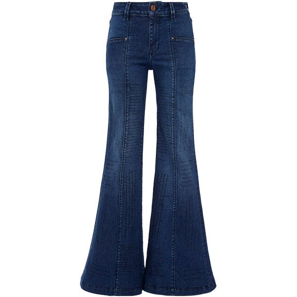 Johanna Ortiz M'O Exclusive Aureliano Buendia Jeans ($285) ❤ liked on Polyvore featuring jeans, flared jeans, mid rise jeans, mid rise flare jeans, blue jeans and dark wash flare jeans