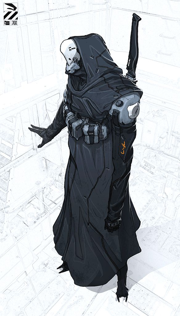 Hooded cyborg. by duster132 robot fighter monk assassin thief rogue armor clothes clothing fashion player character npc | Create your own roleplaying game material w/ RPG Bard: www.rpgbard.com | Writing inspiration for Dungeons and Dragons DND D&D Pathfinder PFRPG Warhammer 40k Star Wars Shadowrun Call of Cthulhu Lord of the Rings LoTR + d20 fantasy science fiction scifi horror design | Not Trusty Sword art: click artwork for source