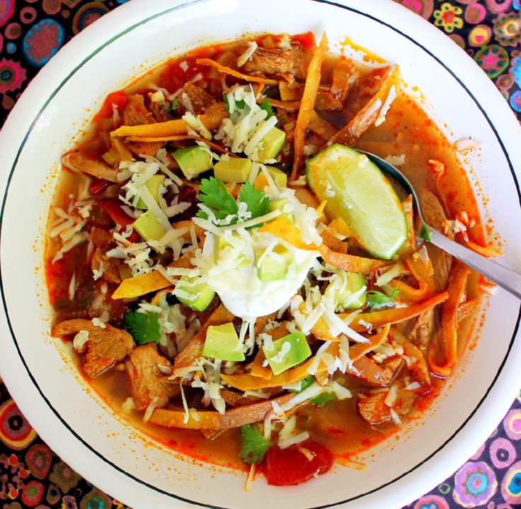Eva Longoria's Chicken Tortilla Soup from her restaurant Beso. Simply delicious!