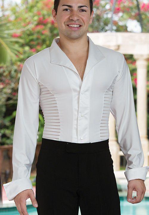 Dance America MS29 - Soft Collar Striped Latin Dance Shirt| Dancesport Fashion @ DanceShopper.com