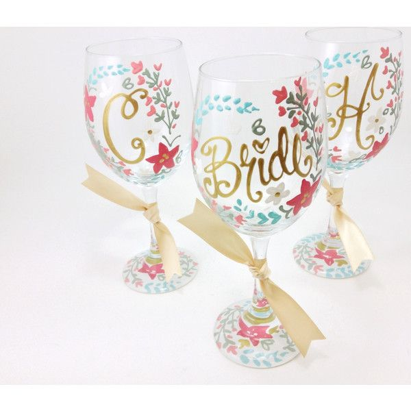 On 7 Plus Bride Maid of Honor Bridesmaid Floral Laurel Coral Wine... ($15) ❤ liked on Polyvore featuring home, kitchen & dining, drinkware, drink & barware, home & living, silver, personalized wine glasses, handpainted wine glasses, monogram wine glass and colored wine glasses