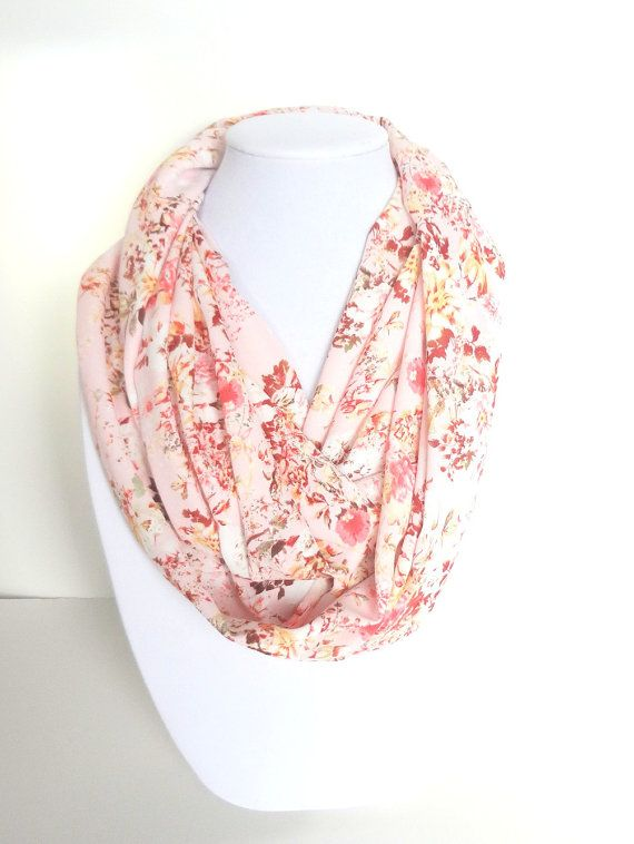Floral Scarf Pink Infinity Scarf Floral by FashionelleStudio