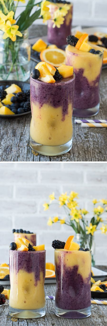 ~~Hawaiian Berry Smoothie   yum, this two layer smoothie has an orange mango layer and a berry layer! Top the smoothie with a skewer filled with fresh fruit to make it extra gorgeous! Healthy Smoothies to Try #smoothies #weightloss #healthy