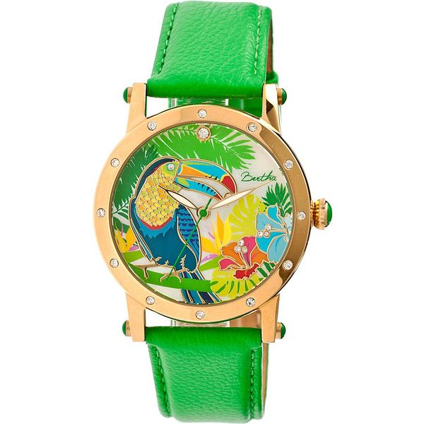 Bertha Gisele Watch - Green - Women's Watches ($143) ❤ liked on Polyvore featuring jewelry, watches, green, stainless steel jewelry, leather strap watches, bezel jewelry, green jewelry and engraving watches