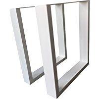 Mesa de diseño marco blanco marco de tira y afloja 304 Acero Revestido mesa pierna Base 1 - 63,5 x 70 cm